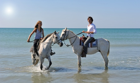 horse blonde: father and daughter with arabian and camargue horses in the sea with an evening sun