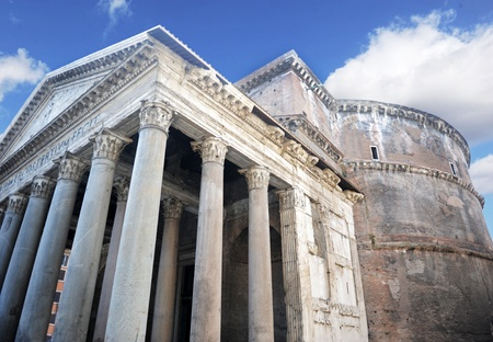 pantheon: exterior of the pantheon in rome italy, built in 126 ad