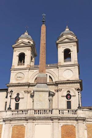 trinita: famous Trinita dei Monti, Renaissance titular church in Rome, Italy Stock Photo