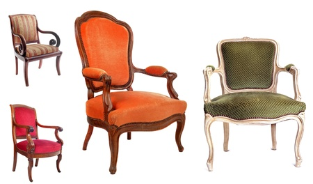 comfortable chair: antique chairs in front of white background