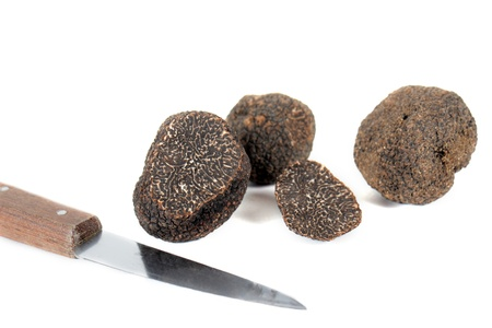 whote: black truffles, tuber melanosporum, and knife in front of whote background Stock Photo