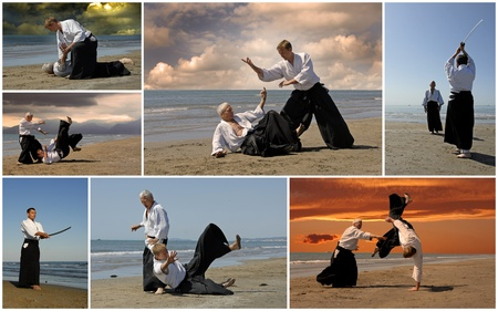 adherent: composite picture with  adults who are training in Aikido on the beach Stock Photo