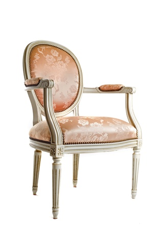 antique chair in front of white background photo