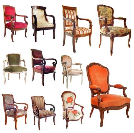composite: imagen compuesta con sillas antiguas en frente de fondo blanco Foto de archivo