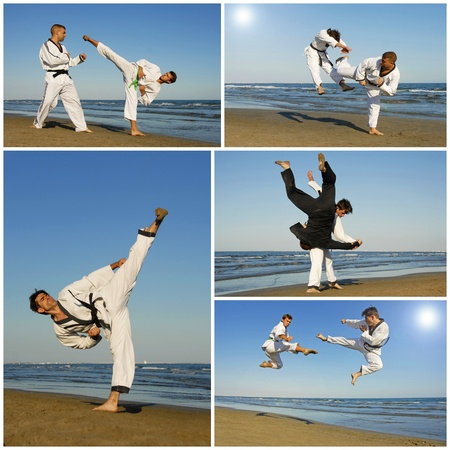 offence: training of aikidofor young men on the beach Stock Photo