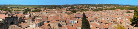 oc: typical roof of the village of Sommieres, in the gard, France Stock Photo