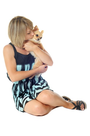 portrait of a woman and chihuahua in front of white background photo