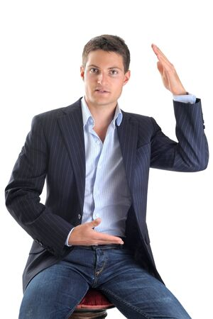 hand movements: young business man with movements of hands in front of white background
