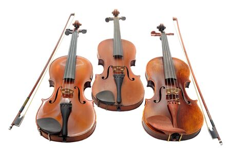 violins: beautiful three violins isolated on a white background