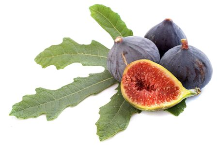 fig leaf: black figs and leaf in front of white background
