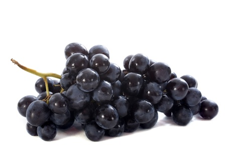muscat: black muscat grapes in front of white background