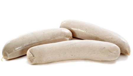 cooked sausage: three white sausages in front of white background Stock Photo