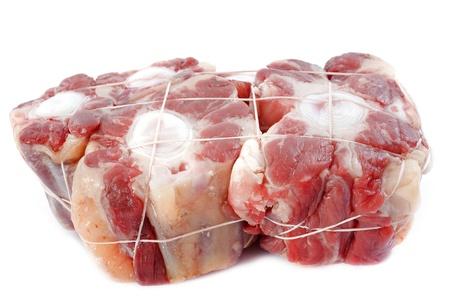 buey: Rabo de buey de carne en frente de fondo blanco Foto de archivo
