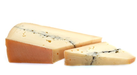 slice of french cheese morbier in front of white background photo