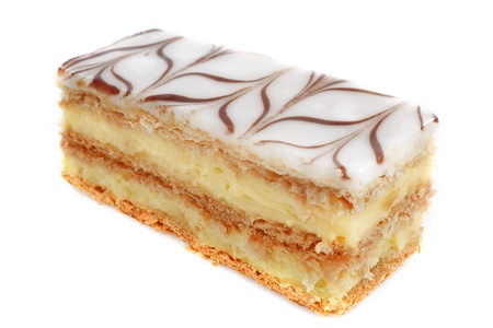 mille feuille pastry in front of white background Stock Photo