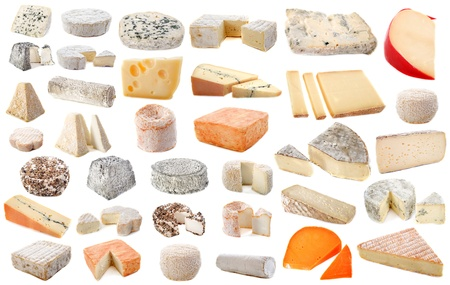 goat cheese: composition of various cheeses in front of white background