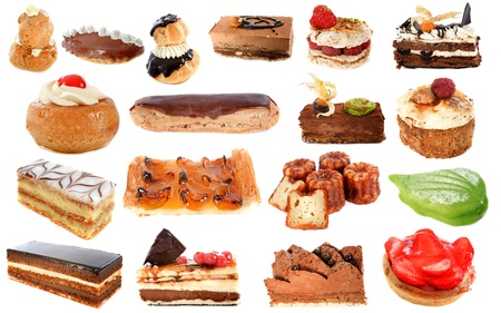 group of cakes in front of white background photo