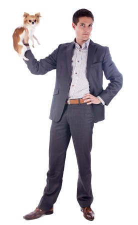 young business man and chihuahua in front of white background photo