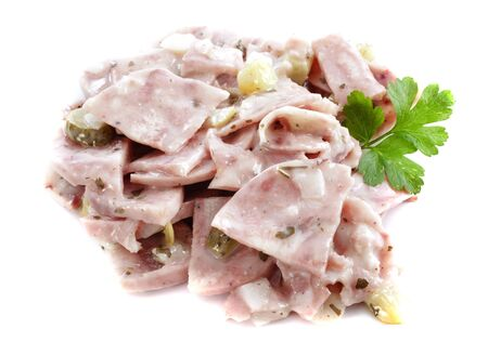 jelly head: French beef and pork headcheese in front of white background