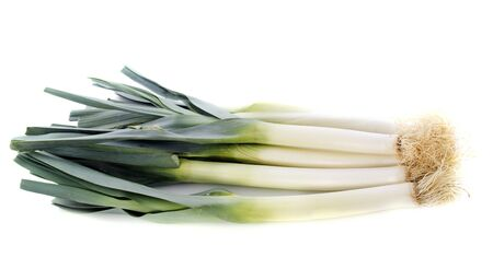 bunch of leeks in front of white background Stock Photo - 16898097