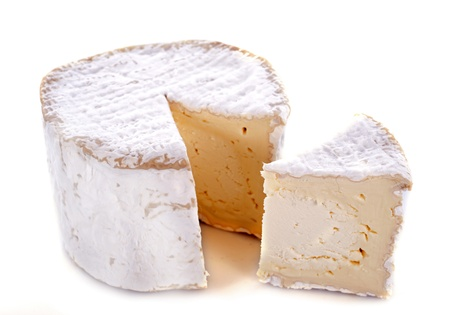 chaource cheese in front of white background Stock Photo - 16898096