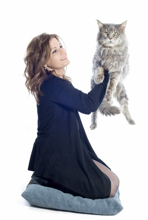 portrait of a purebred  maine coon cat and woman on a white background Stock Photo - 16883328