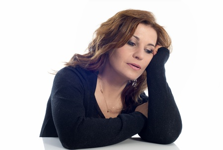 sad woman in front of white background Stock Photo - 16883323