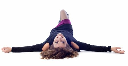 beautiful smiling woman laid down in front of white background Stock Photo - 16883333