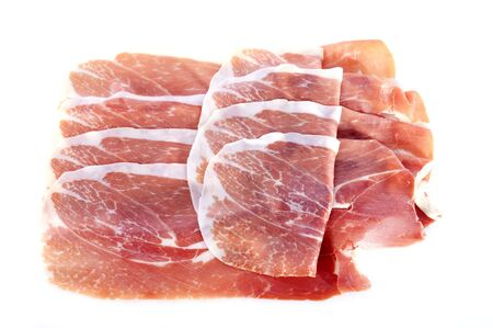 slice of raw ham in front of white background Stock Photo - 17333378