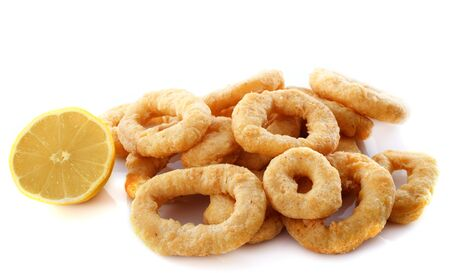 calmar: fried calamari in front of white background Stock Photo