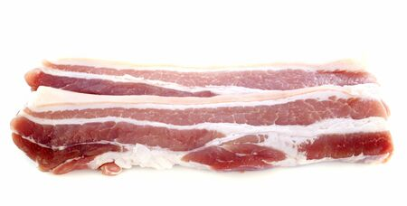 slices of bacon in front of white background Stock Photo - 17333374