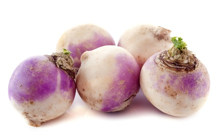 rutabaga: freshly harvested spring turnips (Brassica rapa) on a white background Stock Photo