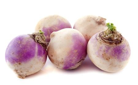 rutabaga: freshly harvested spring turnips (Brassica rapa) on a white background Stock Photo