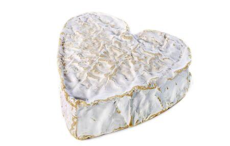 Whole Heartshaped Neufchatel cheese on white background Stock Photo - 17333364