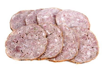 Andouille de Vire, french sausage in front of white background Stock Photo - 17676512