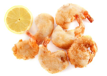 tempura shrimps and lime in front of white background Stock Photo - 17841191