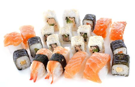 assortment of sushis in front of white background Stock Photo - 17841195