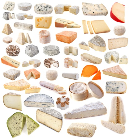 cheeses: composition of various cheeses in front of white background