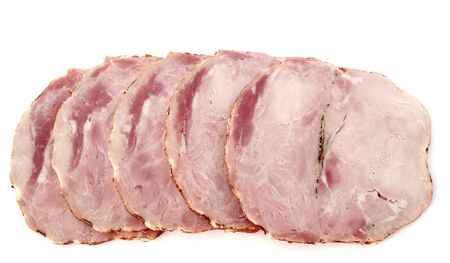 slice of roast pork in front of white background Stock Photo - 18119361