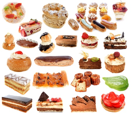 eclair: group of cakes in front of white background Stock Photo