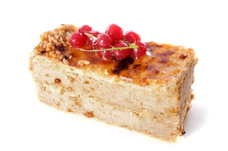 praline cake with red currants in front of whith background Stock Photo - 18257737