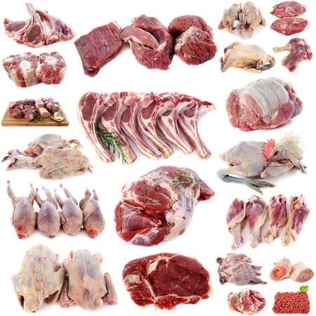 meats: group of meats in front of white background Stock Photo