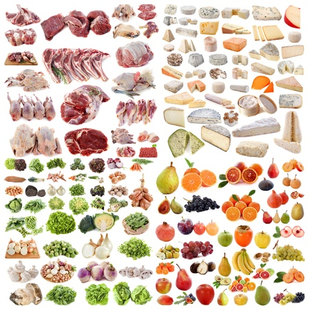 large group of food in front of white background Stock Photo