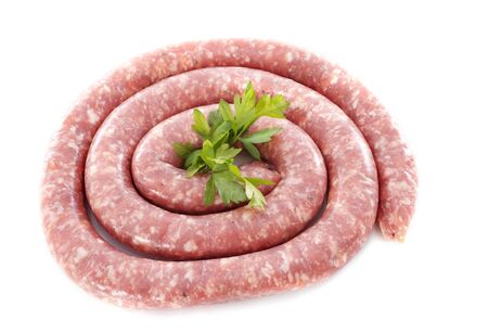 fresh sausage in front of white background