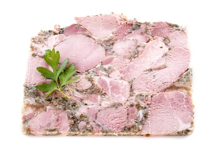 Head cheese in front of white background Stock Photo - 20752170