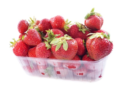 strawberry in  punnet in front of white background Stock Photo - 20752205