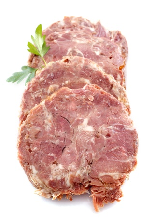 meat terrine in front of white background Stock Photo - 20752216