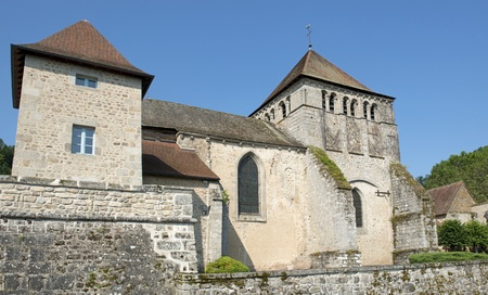 limousin: church of Moutier dAhun in the Creuse, Limousin, france