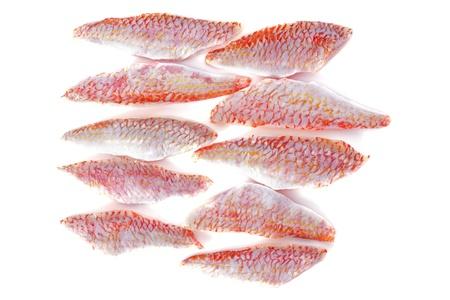 goatfish: fillets of goatfish in front of white background Stock Photo