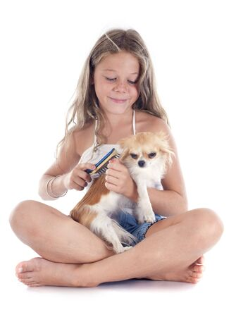young girl and chihuahua in front of white background photo
